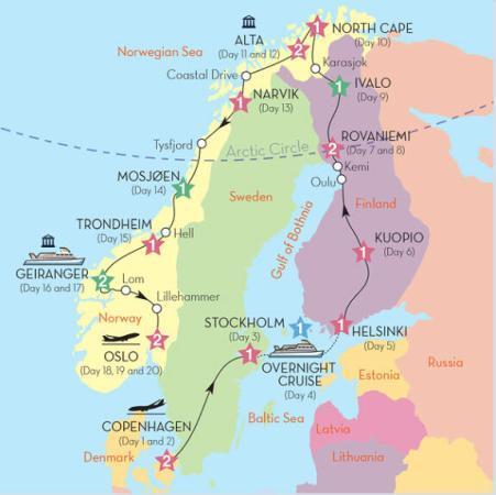Map of Grand tour of Scandinavia
