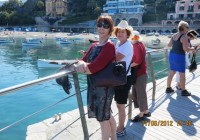 Cheral and Hellen waiting for boat to Cinque Terra